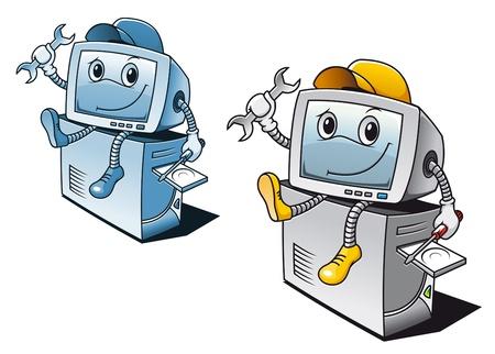 laptop repair: Equipo en el estilo de dibujos animados para el concepto de servicio de reparaci�n