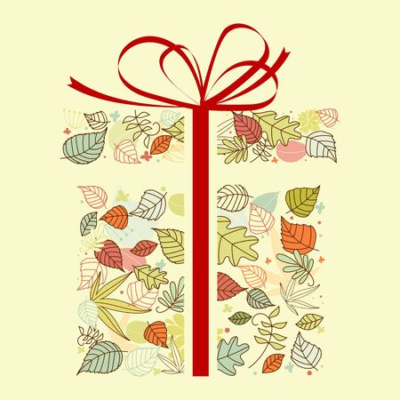 gift bag: Autumnal gift with colorful leaves for seasonal design Illustration