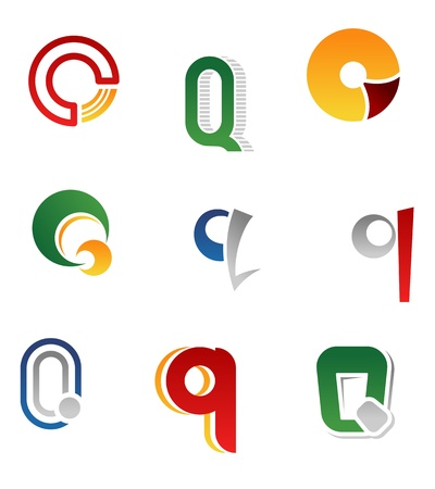 alphabetic: Set of alphabet symbols and elements of letter Q