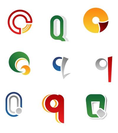 alphabetical letters: Set of alphabet symbols and elements of letter Q