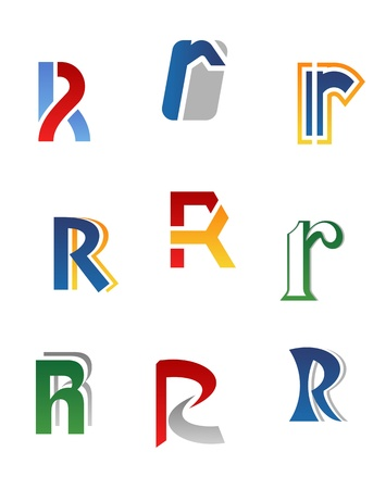 R: Set of alphabet symbols and elements of letter R Illustration
