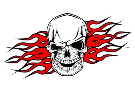 Danger evil skull as a tattoo isolated on white Stock Vector - 10915338