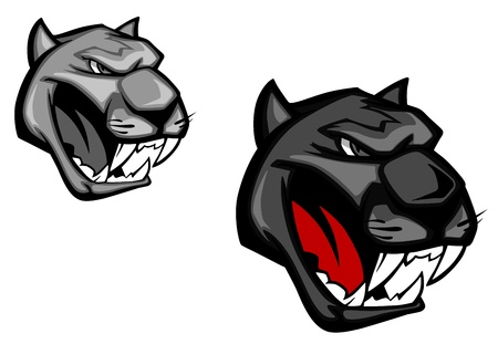 Angry panther for mascot design isolated on white background  Vector