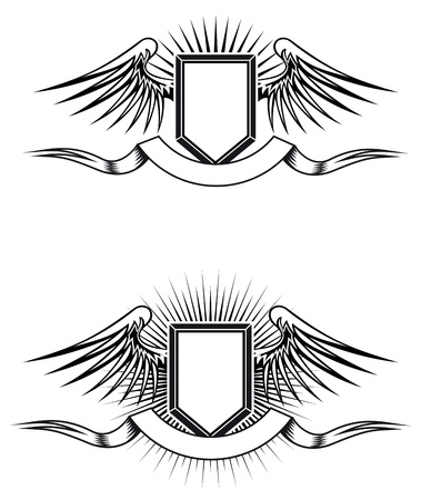 Heraldic blazons with wings and ribbons for design Vector