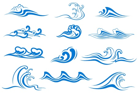 tidal wave: Set of wave symbols for design isolated on white