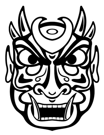 wood carving: Ancient ceremony mask isolated on white for design