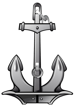 Detailed nautical anchor isolated on white for design Vector