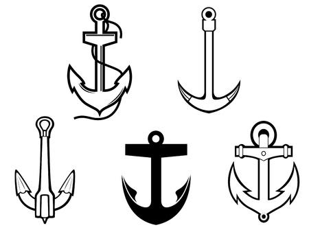 harbour: Insieme di simboli anchorl per la progettazione isolato su sfondo bianco