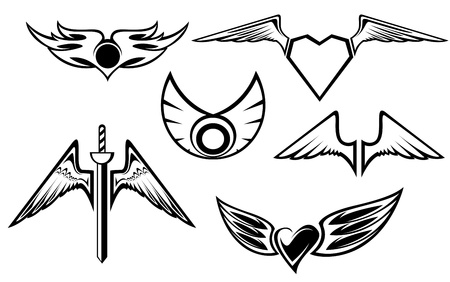 tatouage ange: Ensemble de symboles aile isolé sur blanc Illustration