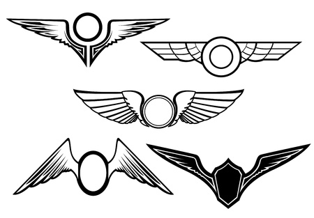 Set of wing symbols isolated on white Vector