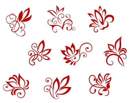 brocade: Flower patterns isolated on white for design and ornate