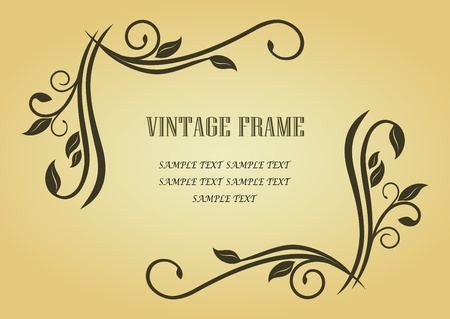Floral frame in victorian style for design as a background Vector