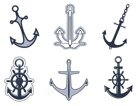 at anchor: Conjunto de s�mbolos de anchorl para dise�o aisladas sobre fondo blanco