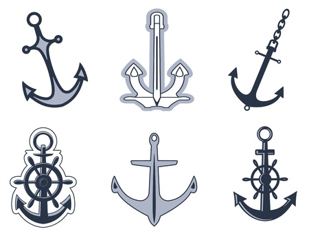 anchor: Set of anchorl symbols for design isolated on white background