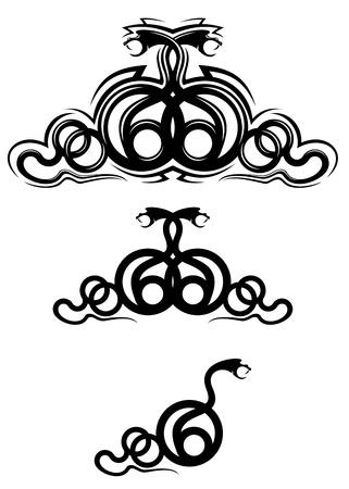 serpiente de cascabel: Serpientes aislado como un dise�o de estructura o un tatuaje Vectores