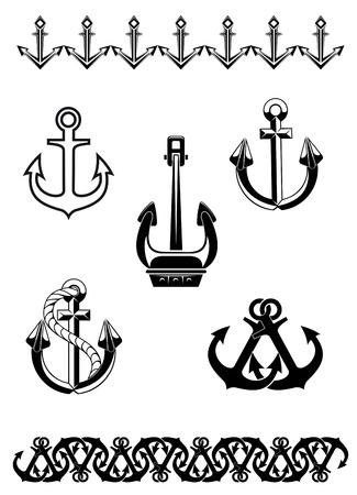 navy: Set of anchorl symbols for design isolated on white background