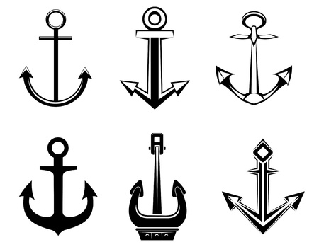 ship anchor: Set of anchorl symbols for design isolated on white background