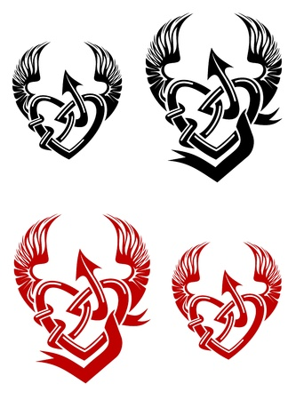 allegory: Isolated tattoo of black and red heart Illustration