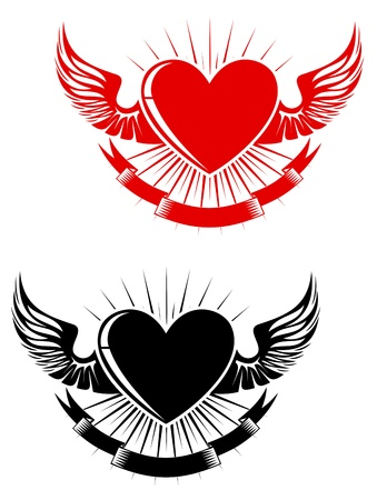 classic tattoo: Retro heart with wings for tattoo design