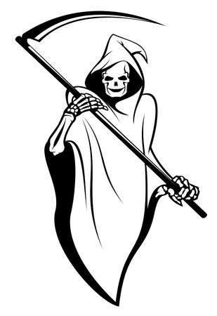 guadaña: Signo de la muerte aislado en blanco para el diseño de tatuaje