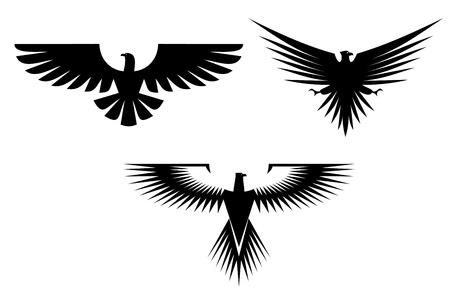 adler silhouette: Adler-Symbol auf weiß für Tattoo-Design isoliert Illustration