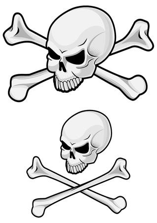 evil face: Danger skull with crossbones for evil concept