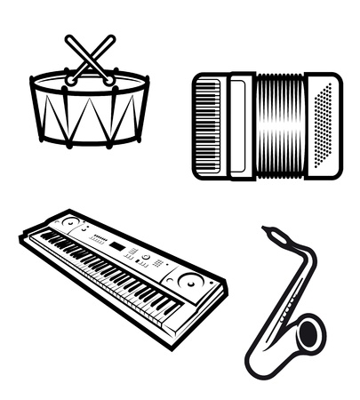 Set of musical instruments isolated on white Stock Vector - 10942558