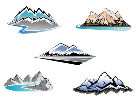river rock: Insieme di simboli di montagna per il design maestosa Vettoriali