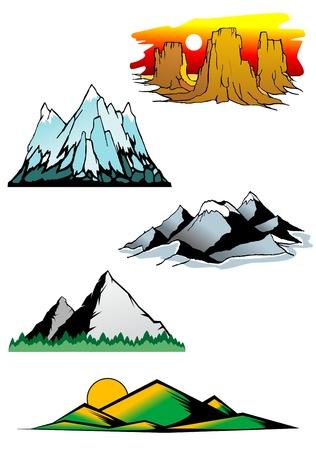 rock logo: Conjunto de s�mbolos de monta�a para el majestuoso dise�o Vectores