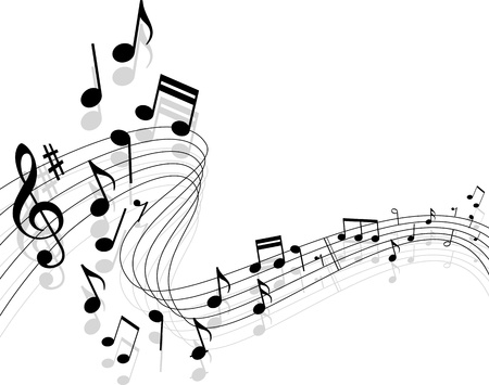 style sheet: Notes with music elements as a musical background design Illustration