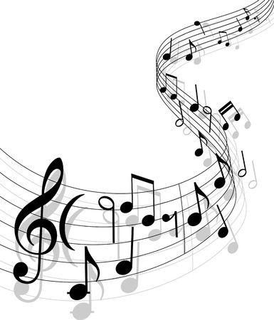 music staff: Notes with music elements as a musical background design Illustration