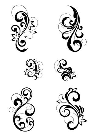 esquineros florales: Motivos florales para el dise�o aislado en blanco Vectores