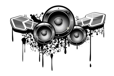 audio speaker: Music grunge for modern design in graffiti style Illustration