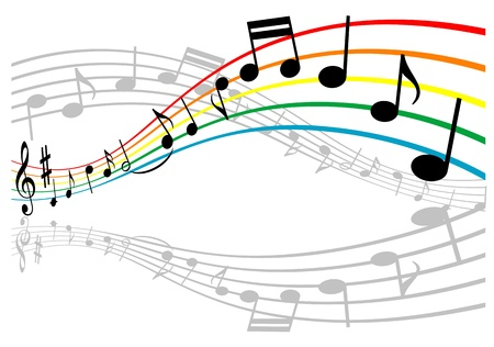 classical music: Notes with music elements as a musical background design Illustration