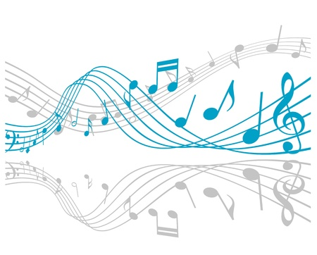 Notes with music elements as a musical background design Illustration