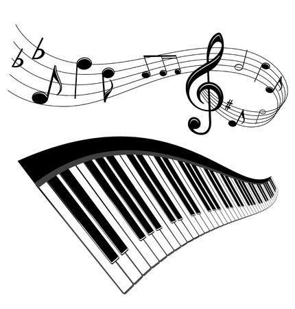 fortepian: Piano i notatki z elementami muzyki do muzycznego projektu Ilustracja