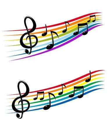 pentagrama musical: Notas con elementos de la música como un diseño de fondo musical