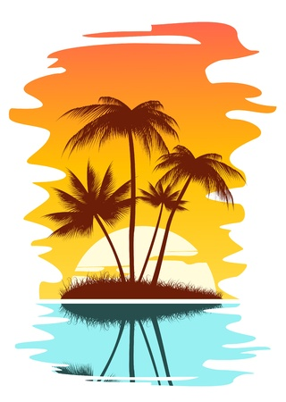 hawaii sunset: Tropical abstract background with palms and sunset