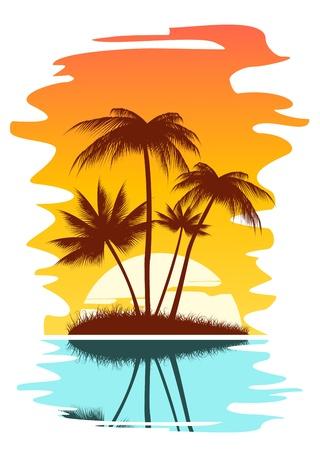 Tropical abstrakten Hintergrund mit Palmen und Sonnenuntergang