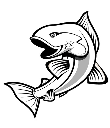 Fish as a fishing symbol isolated on white Stock Vector - 10942308