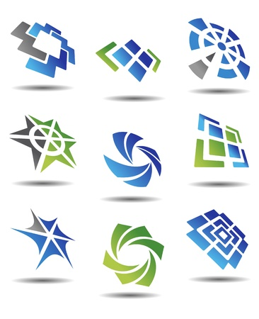 logotype: Set of different abstract symbols for design Illustration