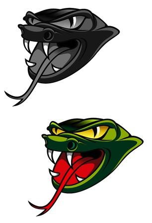 serpiente cobra: Cabeza verde del peligro de la serpiente como un concepto de advertencia Vectores