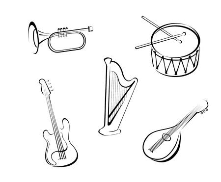 instrumentos musicales: Conjunto de instrumentos musicales de cuerda para el dise�o de la m�sica Vectores
