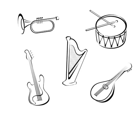 Set of string musical instruments for music design Vector