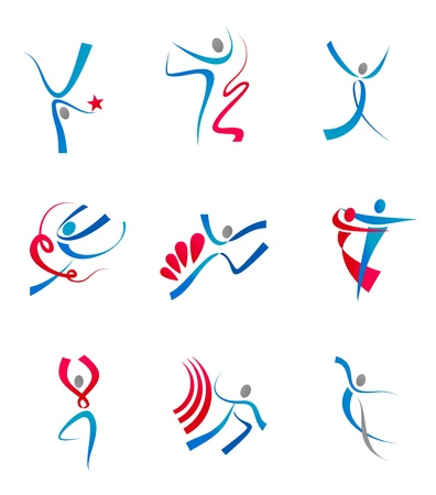 group fitness: Dancing people and sportsmens icons for design Illustration