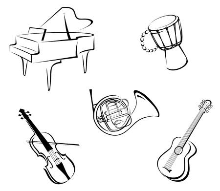 instruments de musique: Set d'instruments de musique pour la conception de la musique