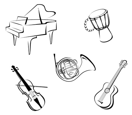 acoustic: Set of musical instruments for music design Illustration