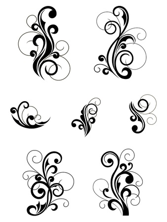 flourishes: Floral patterns for design isolated on white