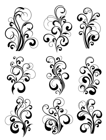 victorian fashion: Floral patterns for design isolated on white