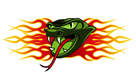 serpiente de cascabel: Tatuaje de serpiente en llamas tribales de diseño